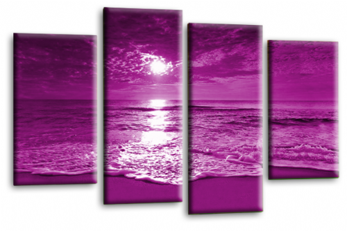 Sunset Seascape Canvas Picture Wall Art Beach Print Purple Cream